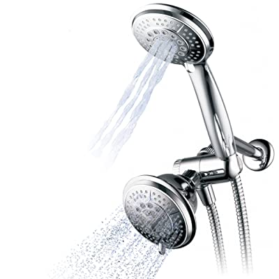 """Hydroluxe 1433 Handheld Showerhead & Rain Shower Combo. High Pressure 24 Function 4"""" Face Dual 2 in 1 Shower Head System"""