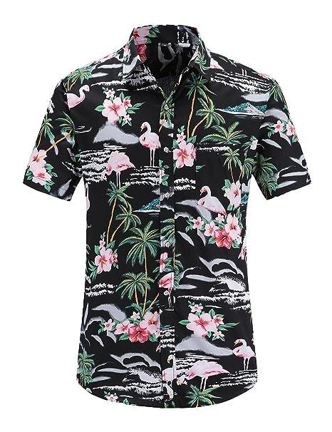 92f7c406315c JEETOO Men's Pineapple Floral Short Sleeve Hawaiian Aloha Shirt (BlackFla,  Small)