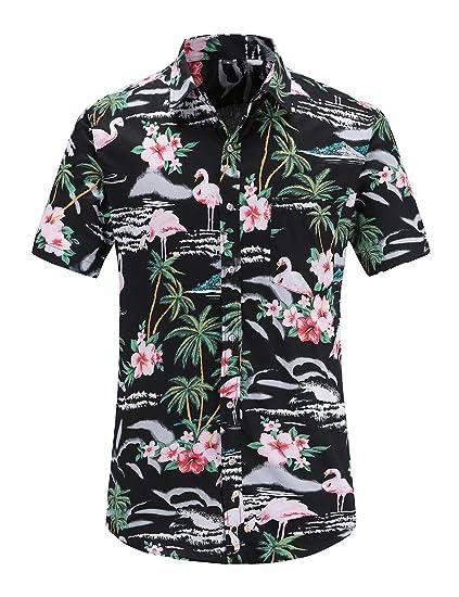 c7081b2cc292 JEETOO Men s Pineapple Floral Short Sleeve Hawaiian Aloha Shirt (BlackFla