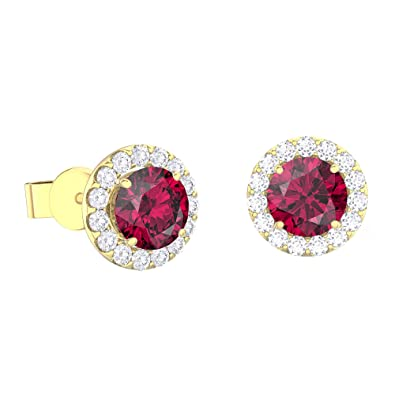 0f229506b Eternity 1ct Ruby and White Sapphire Halo 18ct Gold Vermeil Stud Earrings:  Amazon.co.uk: Jewellery