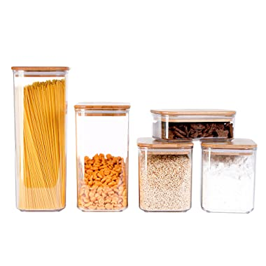 The Order Project Cereal Containers - 5 - Piece Acrylic Large Bamboo Airtight Food Storage Canisters Set for Kitchen, Perfect for Pantry Organization and Food Storage Stackable – Keep Food Dry