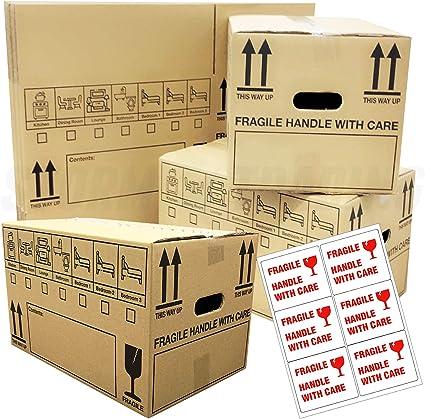 10 cajas de cartón para mudanzas, de doble pared, con cinta frágil, 47 cm x 31,5 cm x 27 cm, 44 litros: Amazon.es: Oficina y papelería