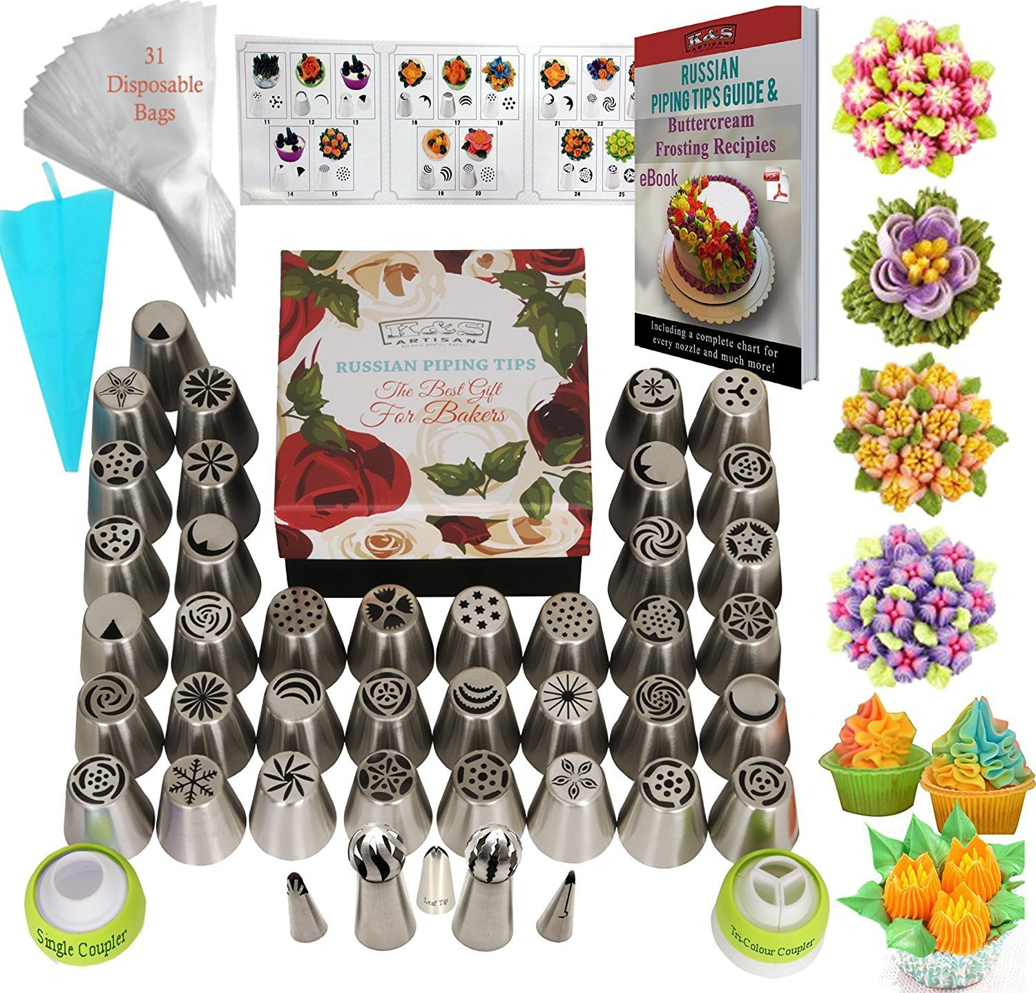 Russian Piping Tips Icing Flower Frosting tips 77 pcs Baking Supplies Set 42 Icing Nozzles 31 Baking Pastry Bags 2 Russian Ball Piping Tips Large Cupcake Decorating Kit DELUXE Russian Nozzles Set