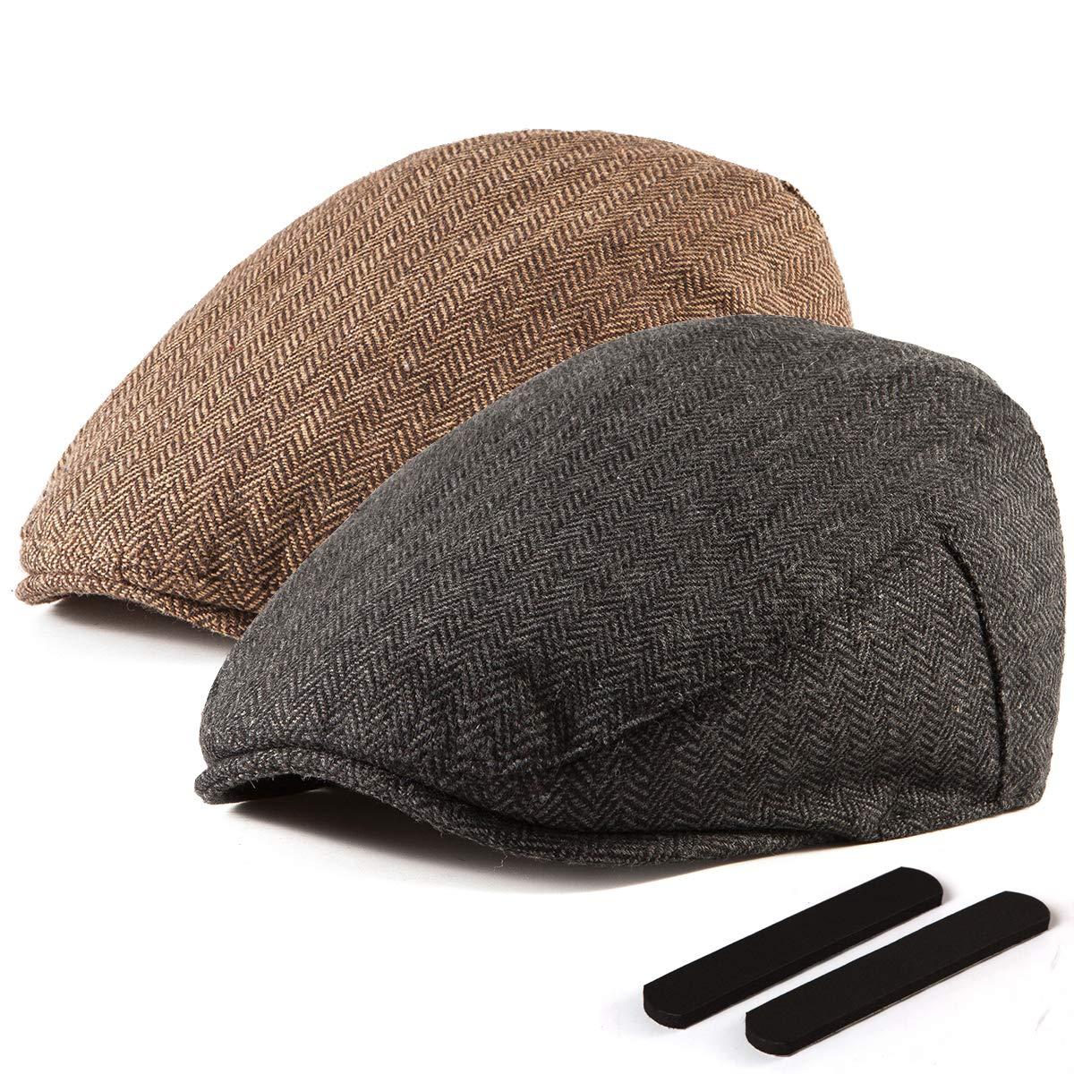 LADYBRO Black+Brown Wool Newsboy Cap - Men Hat Tweed Driving Scally Cap Ivy Hat Gift for Men 2Pack by LADYBRO