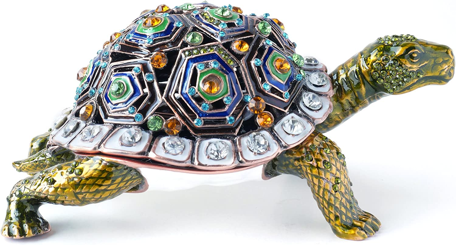 Amazon Com Apropos Hand Painted Giant Tortoise Trinket Box Rich Enamel And Sparkling Rhinestones Jewelry Trinket Box Free Priority Shipping Home Kitchen