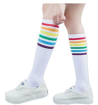 calcetines mujer largos invierno Longra Arco iris rayas Mujer Casual Calcetines moda Elástico 1 par de