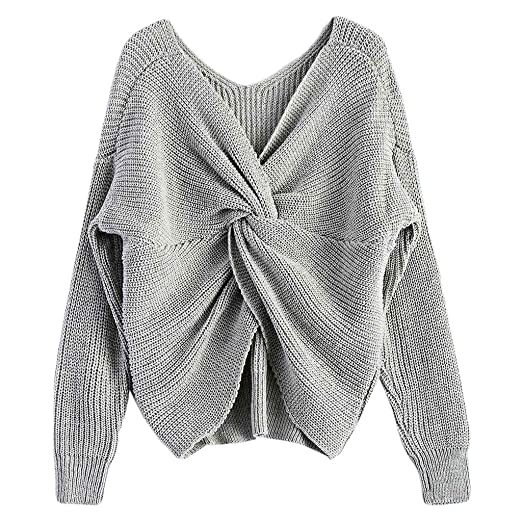 9a121ed778d40e Ladaidra Women Sexy Deep V-Neck Twisted Back Sweater Pullover Long Sleeve Knit  Jumper Top at Amazon Women's Clothing store: