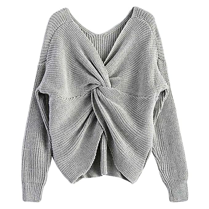 4aa6ecf5e74ccf Image Unavailable. Image not available for. Color  Lukalook Women Sexy Deep  V-Neck Twisted Back Sweater Pullover Long Sleeve Knit ...
