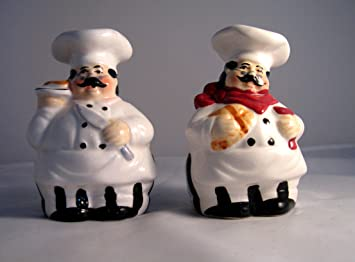 Italian Chef Salt And Pepper Shaker Set For Bistro Decor In Kitchen Bar For  The Gourmet