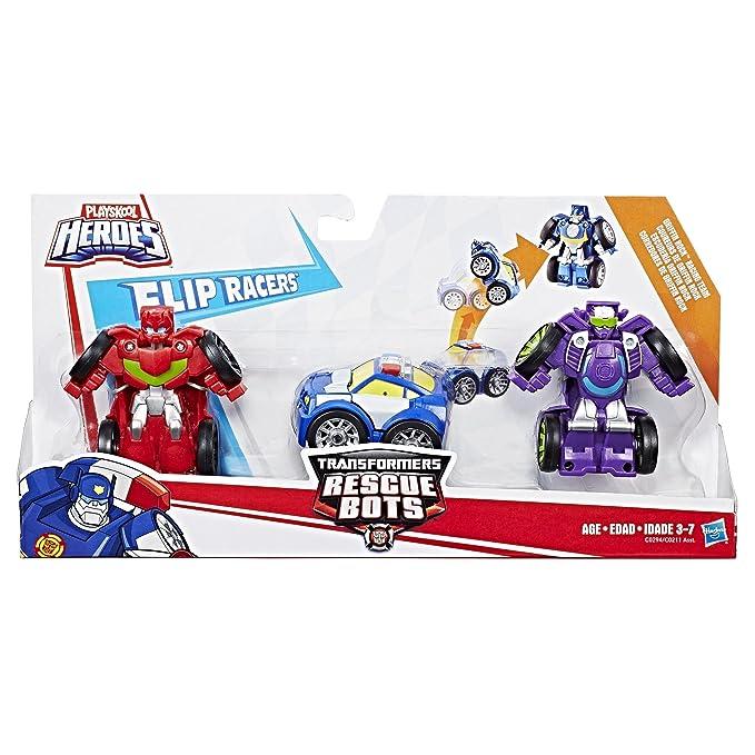 Transformers Rescue Bots Flip corredores Chomp /& Chase Raceway Playskool Héroes De Juguete