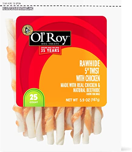 Ol Roy Rawhide 5 Twist with Chicken Chews for Dogs 25 ct
