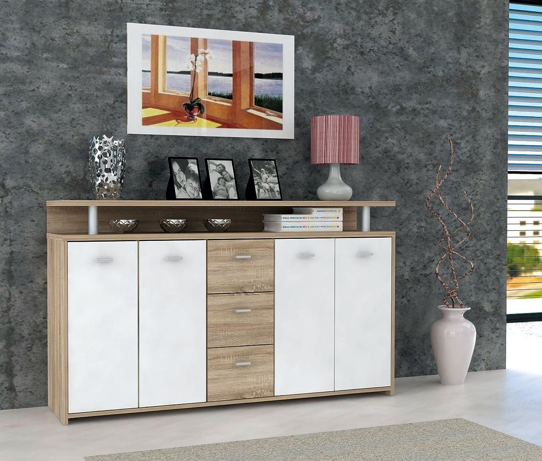 ROLLER Sideboard PABLO - Sonoma Eiche-weiß - 152 cm: Amazon.de ...
