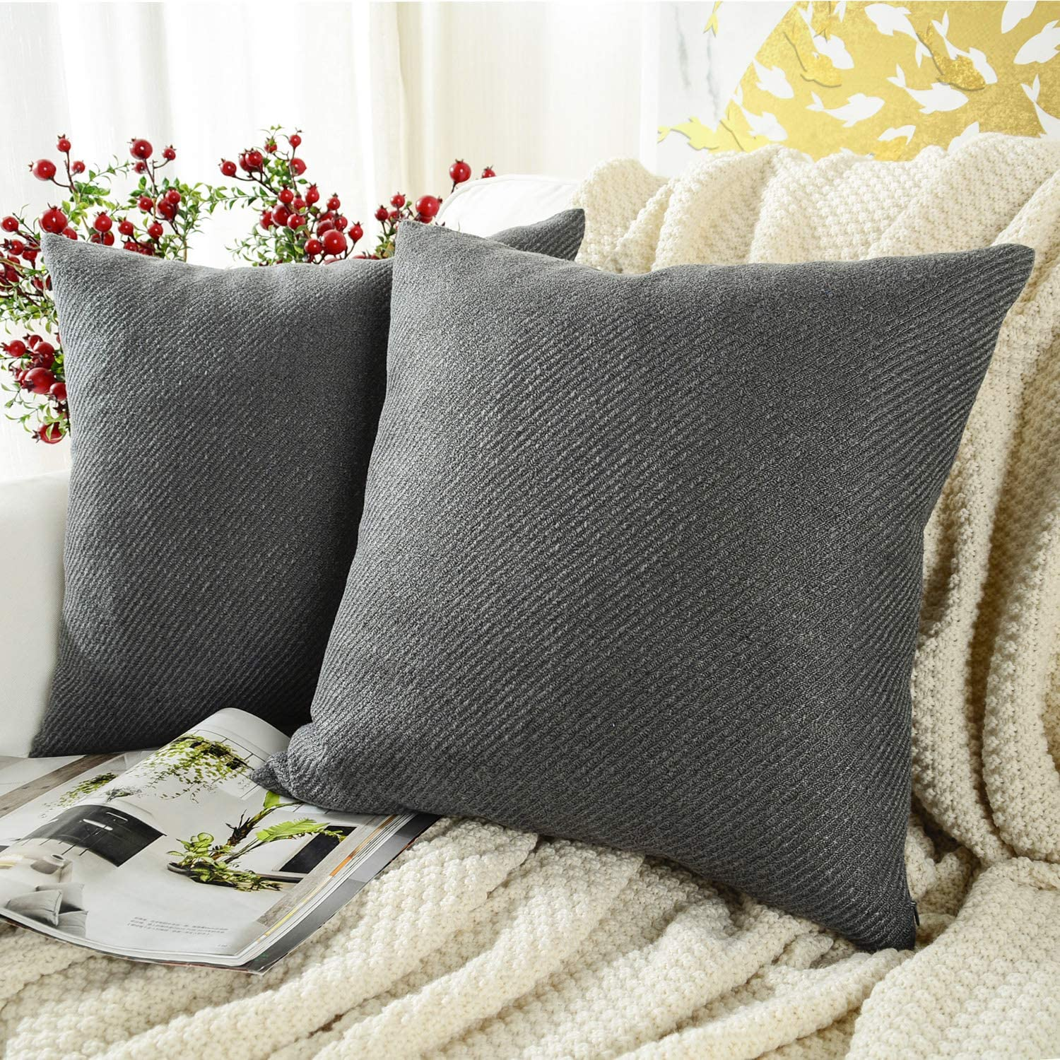 MERNETTE Pack of 2, Chenille Soft Decorative Square Throw Pillow Cover Cushion Covers Pillowcase, Home Decor Decorations for Sofa Couch Bed Chair 24x24 Inch/60x60 cm (Dark Grey)