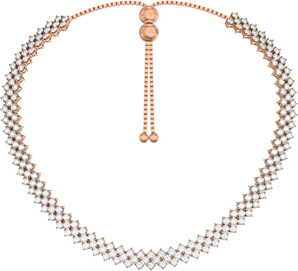 collier ras de cou or rose et diamant
