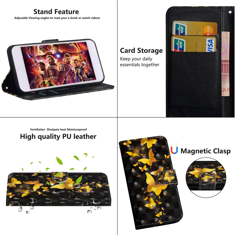sinogoods Para Huawei P Smart Funda Mariposa dorada Cuero De La PU Magn/ético Capirotazo Billetera Apoyo Bumper Protector Cover Funda Carcasa Case