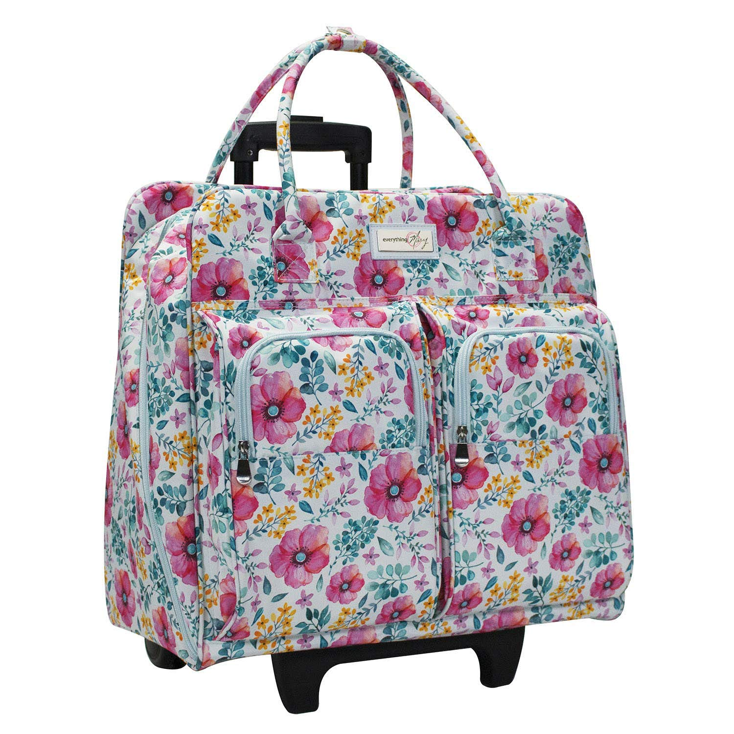Everything Mary Deluxe Light Blue Floral Rolling Sewing Machine Case - Sewing Case Fits Most Brother & Singer Sewing Machines - Premium Teacher Rolling Travel Case for Teachers, Students, School by Everything Mary