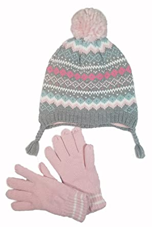 Amazon.com: Carter's Girls Fair Isle Pom Pom Winter Hat and Glove ...