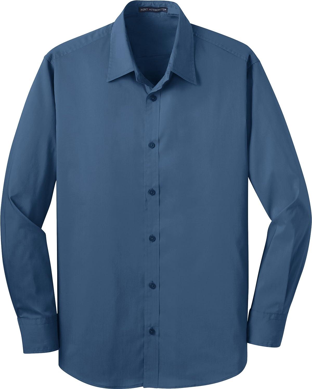 Port Authority Mens Stretch Poplin Shirt X-Large Moonlight Blue