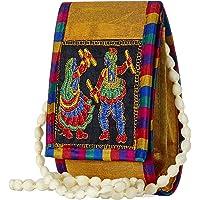 GiftingTree Women's Rajasthani Jaipuri Embroidered Fabric Multicolour Sling Mobile Bag