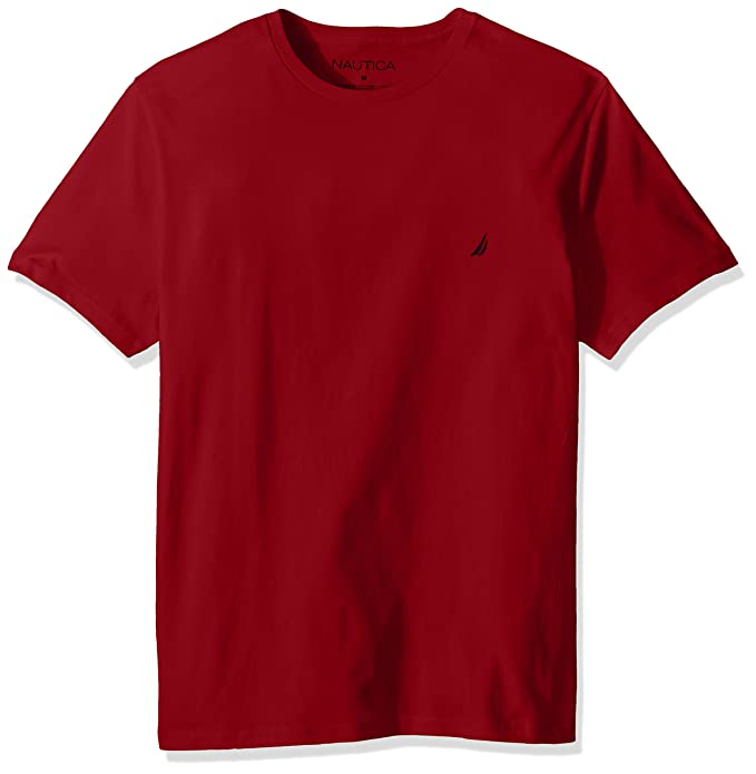 Nautica Men's Short Sleeve Solid Crew Neck T-Shirt, Red, Small