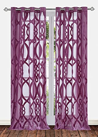 Ifblue 2 Panels Grommet Top Sheerness Velvet Cutting Sheer Window Light  Filtering Geometric Pattern Curtains Drapes Part 55