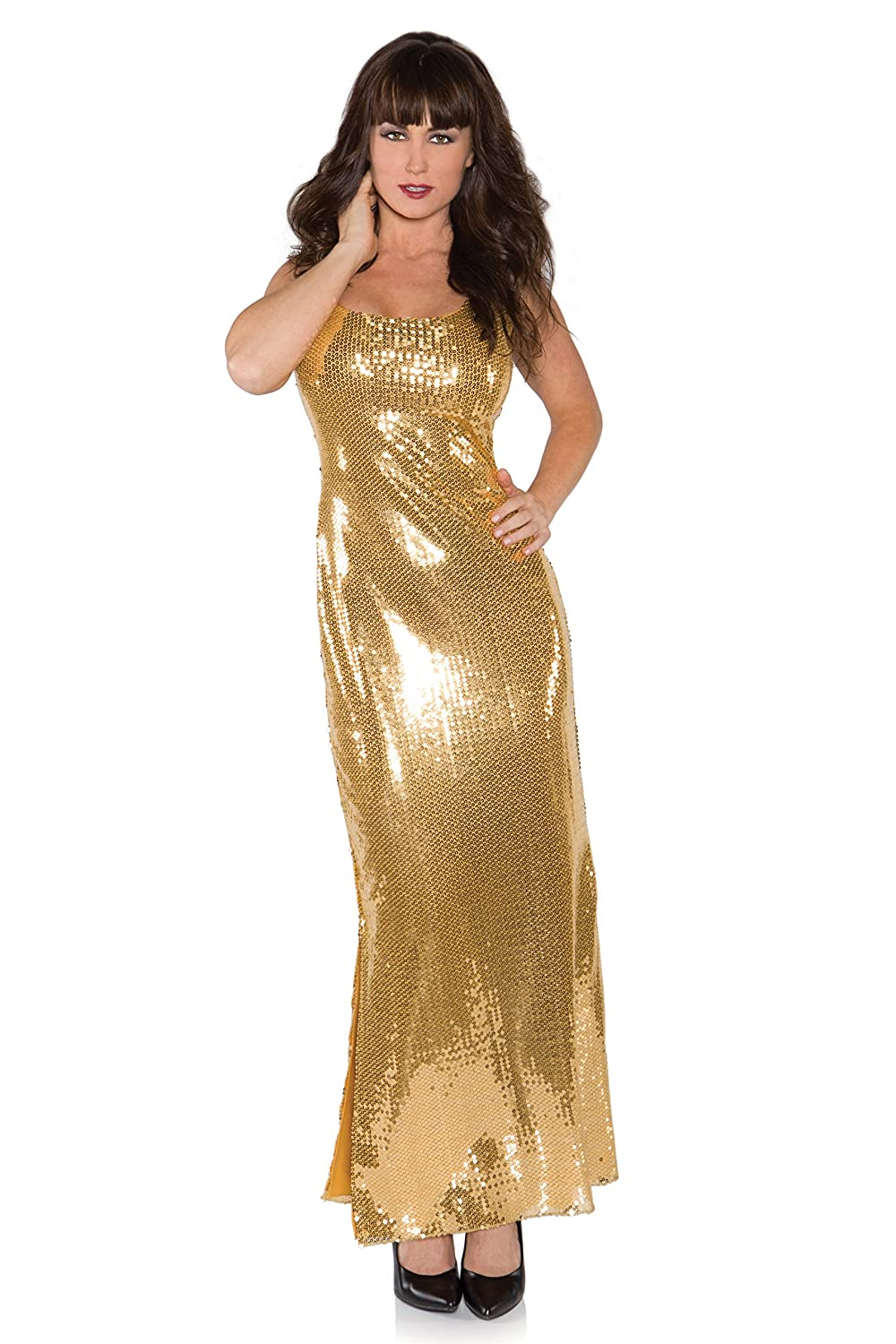 70s Costumes: Disco Costumes, Hippie Outfits Womens Sexy Sequin Costume Long Dress $87.00 AT vintagedancer.com