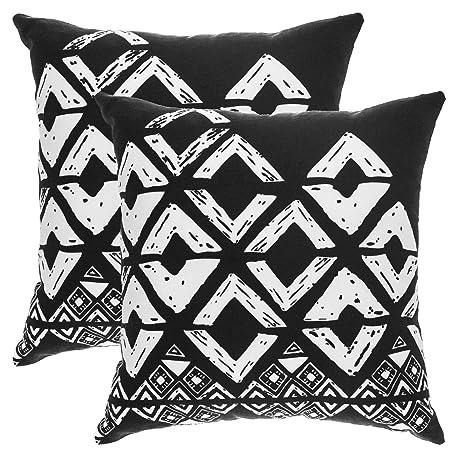 TreeWool - Pack de 2 - Geométrico diseño de Cuadradas Decorativo fundas de cojín, 100% algodón (50 x 50 cm / 20 x 20 pulgadas; Negro y Blanco)