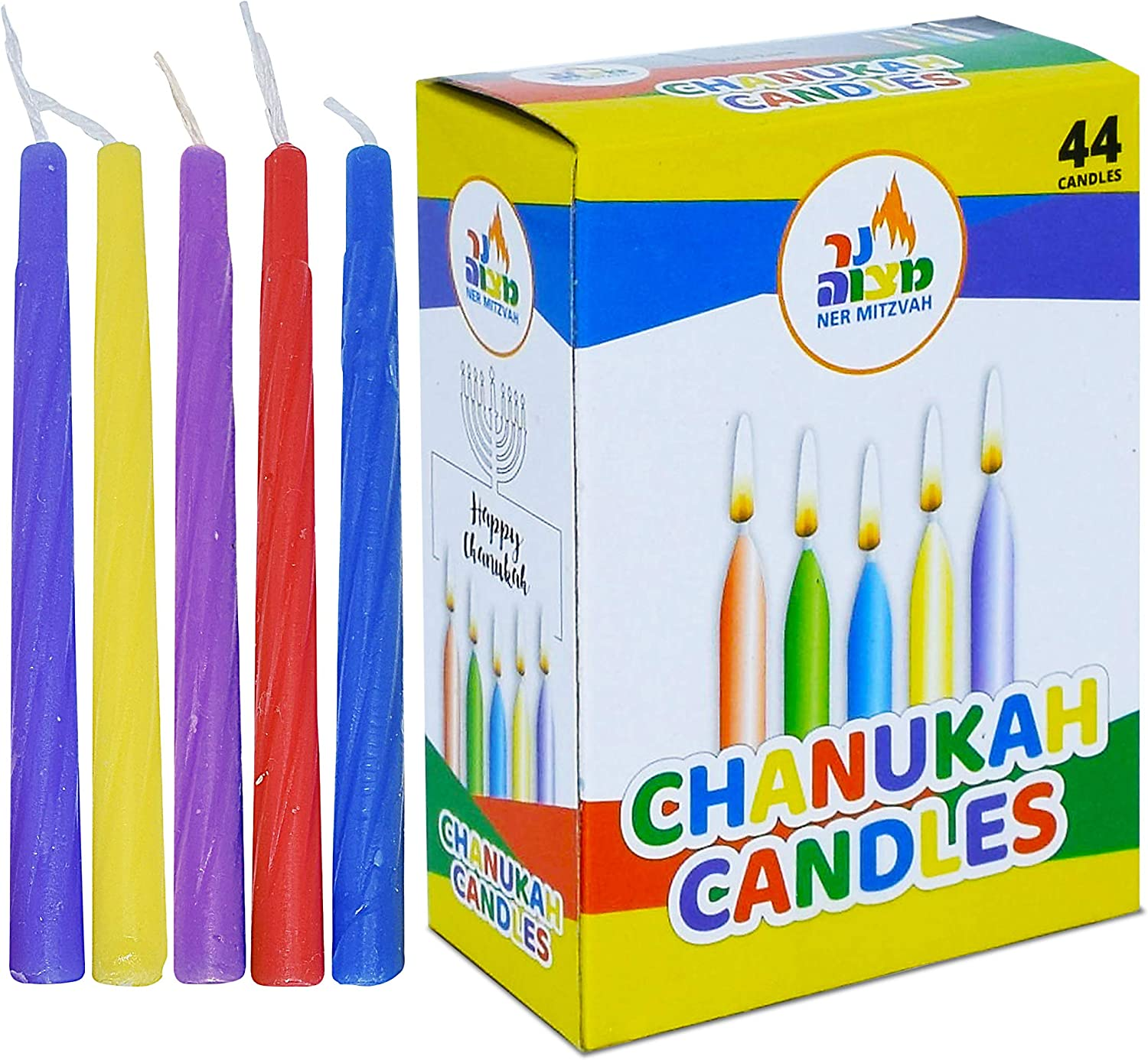 Premium Quality 135 Count Bulk Family Pack Standard Size Candle Fits Most Menorahs Ner Mitzvah Colorful Chanukah Candles Assorted Colors