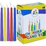 Colorful Chanukah Candles - Standard Size Fits Most Menorahs - Premium Quality Wax - Assorted Colors - 44 Count for All 8 Nig