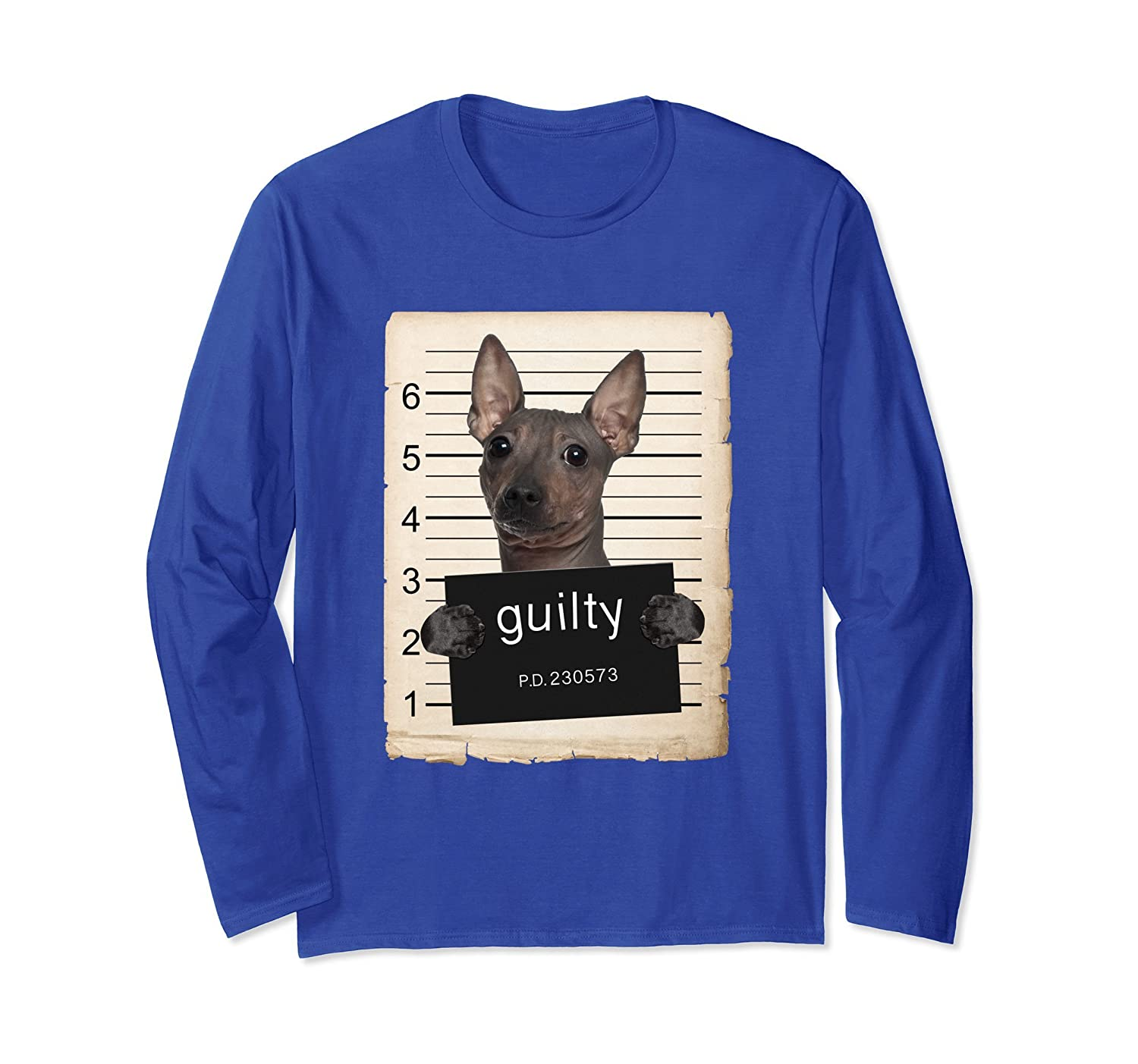 American Hairless Terrier Dog mug shot Long Sleeve Shirt-mt