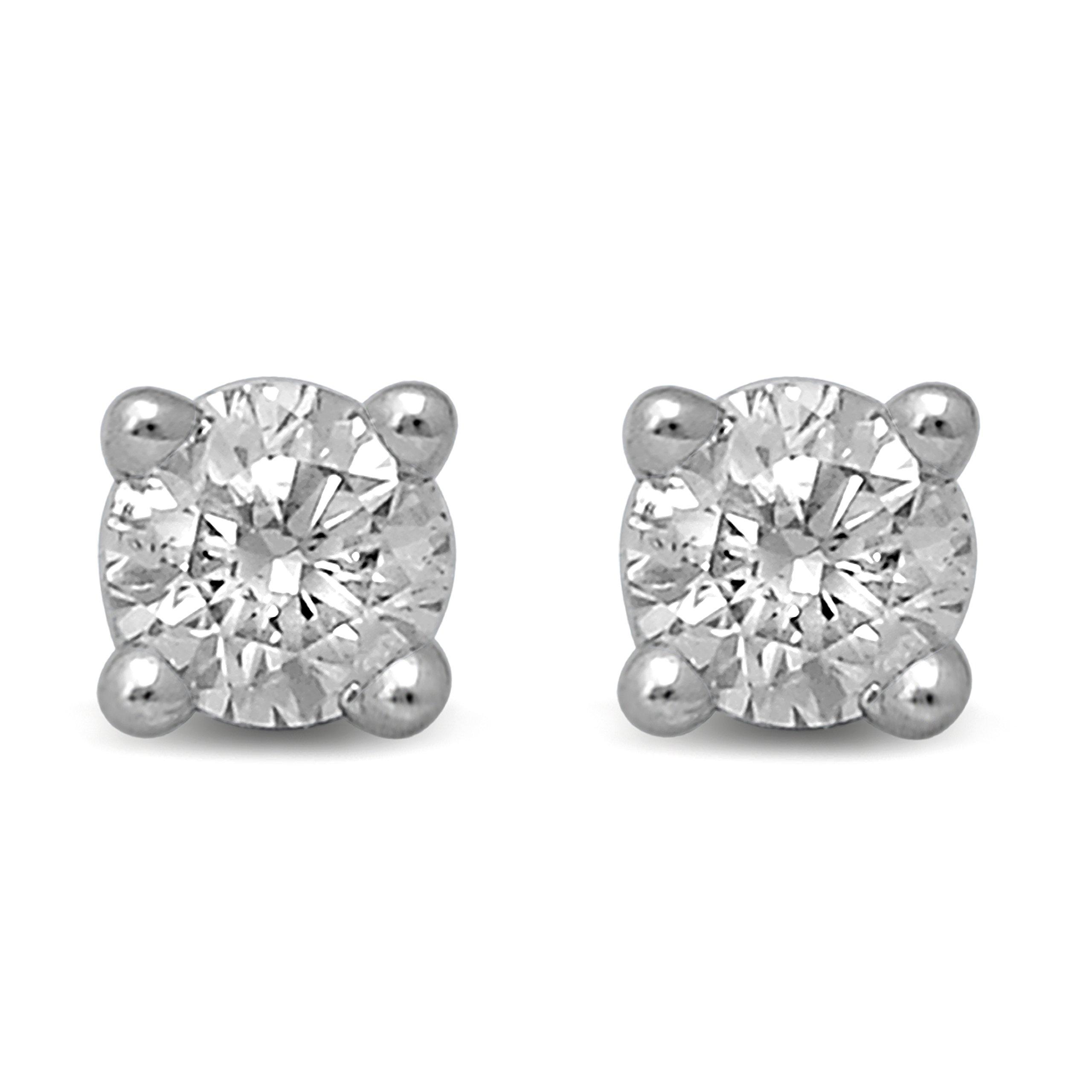 Diamond Jewel 14K Gold Round Diamond Stud Earrings (.25)