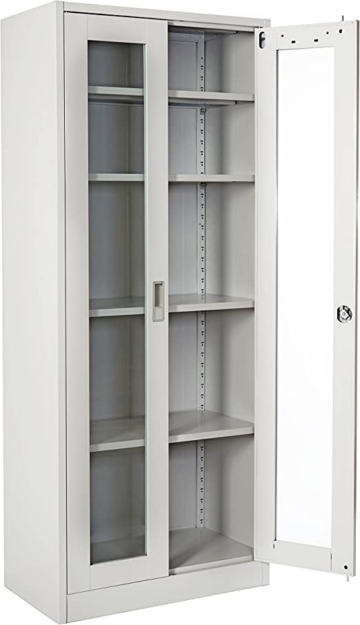 Registro de Boston T165, de metal armario oficina puertas armario, estantería de vidrio 170 x 70 x 39 cm: Amazon.es: Hogar