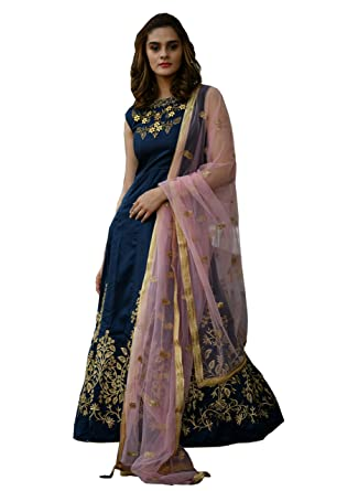 633e64e517ac2 Silk Designer Gown with dupatta (Navy-Blue,Free-Size): Amazon.in: Clothing  & Accessories