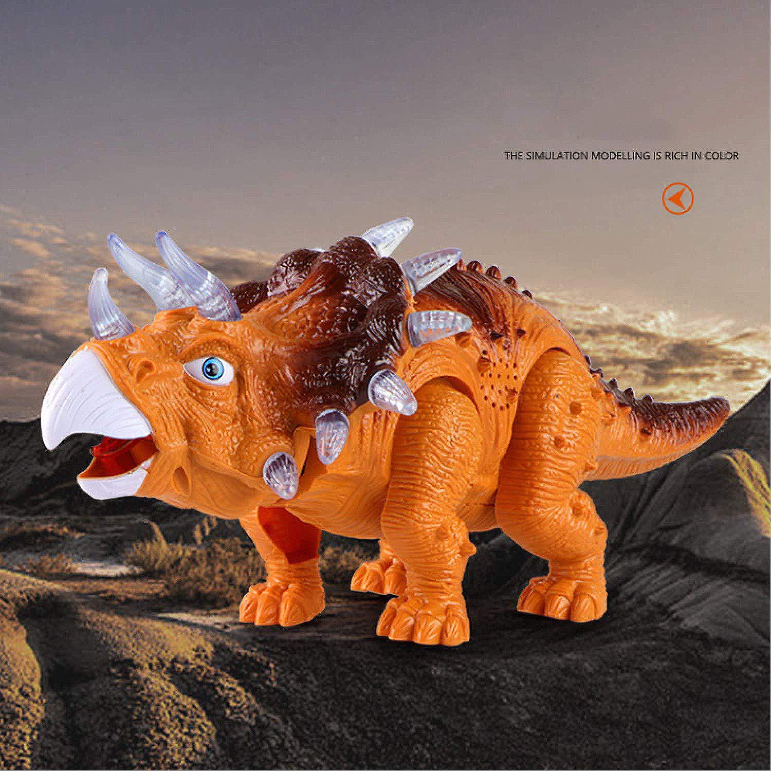 WomToy Walking Dinosaur Toys, Triceratops Dinosaur Toy Figure for Boys & Girls for Kids with Amazing Roar Sounds, Lights & Movement by WomToy (Image #3)