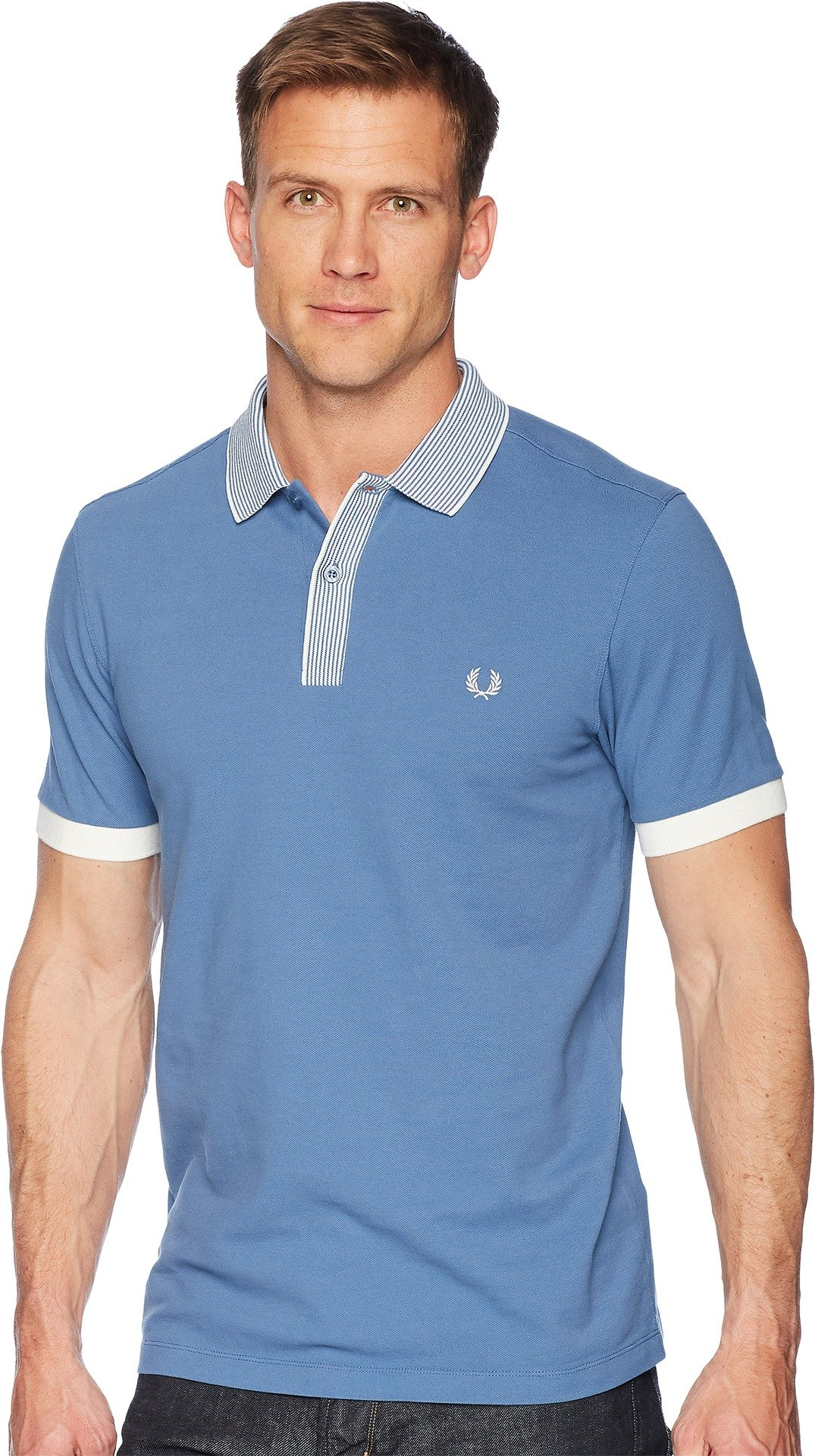 Fred Perry  Men's Stripe Collar Pique Shirt Washed Dusk XX-Large