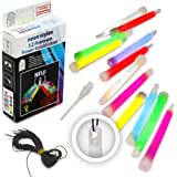 12 Premium Power-Knicklichter KNIXS im 6-Farb-Mix inkl. Spezialhaken und Befestigungsband, robust, intensiv & lange leuchtend