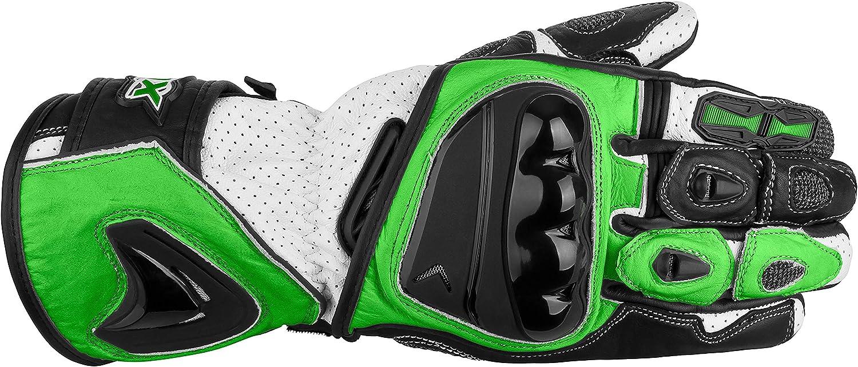 M XLS Motorradhandschuhe Leder mit Protektoren in Kawa Gr/ün