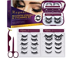 8D Magnetic Lashes with Eyeliner Kit, 12 Pairs Light Weight Magnetic Lashes Kit with 3 Tubes of Magnetic Eyeliner with Scisso