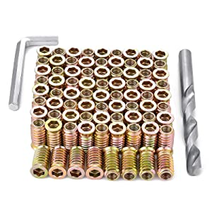 PGMJ 80 Pieces M8 Wood Inserts Bolt Furniture Screw in Nut Threaded Fastener Connector Hex Socket Drive for Wood Furniture Assortment (M8x25mm)