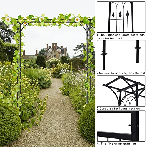 COSTWAY 208CM Garden Wedding Arch Pergola Archway Flowers Roes Climbing  Plants Trellis Metal Outdoor