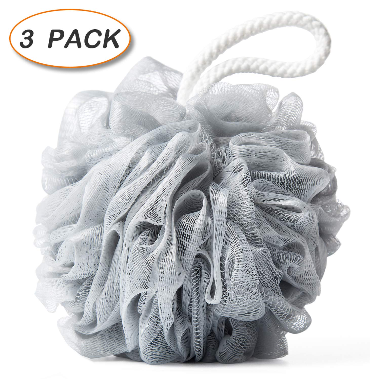 Amazon.com: Bath Shower Loofah Sponge Pouf Body Scrubber Ball Mesh Bath  Sponge: Beauty
