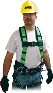 Miller Contractor Non-Stretch Full Body Safety Harness with Side D-Rings, Universal Size-Large/XL, 400 lb. Capacity (650CN-BDP/UGN)
