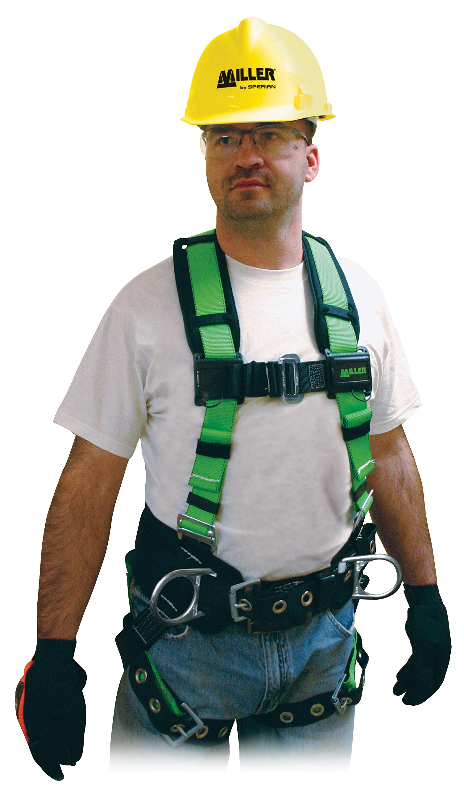 Miller Contractor Non-Stretch Full Body Safety Harness with Side D-Rings, Universal Size-Large/XL, 400 lb. Capacity (650CN-BDP/UGN) by Honeywell