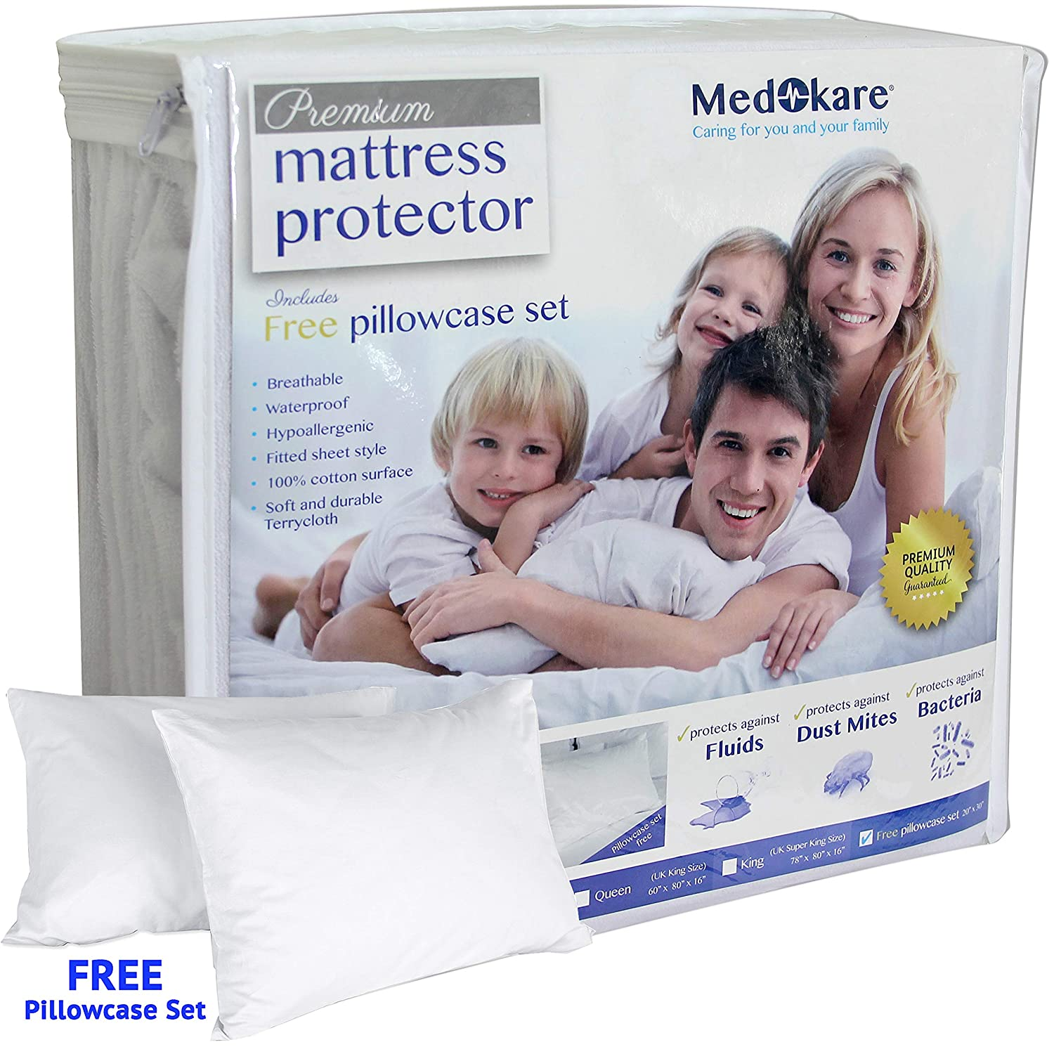 Amazon.com: Medokare Premium King Size Waterproof Mattress Protector - Bed Bug Proof, Super Soft Fitted Cover: Home & Kitchen