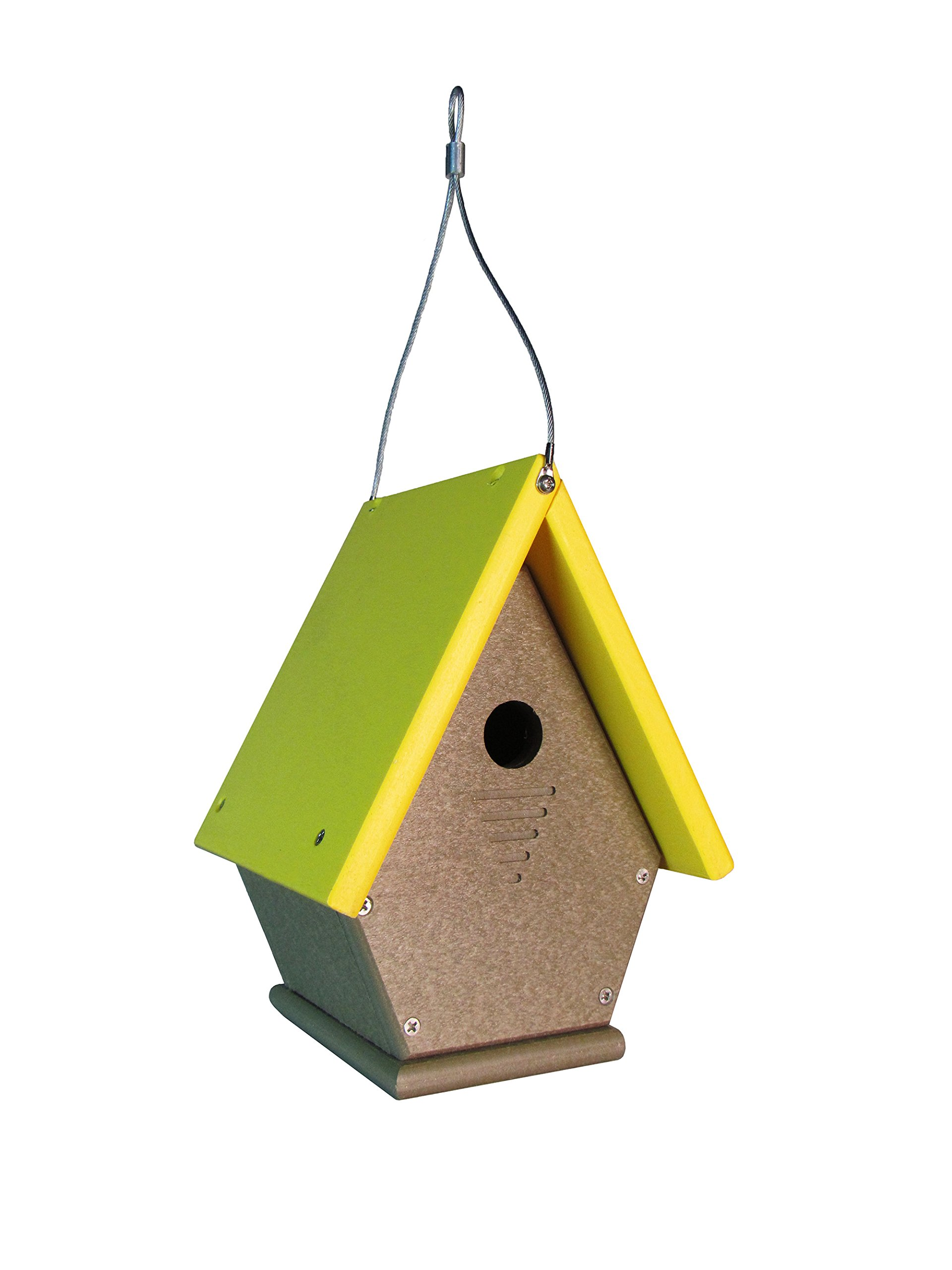 JCs Wildlife Wren, Chickadee, and Warbler Chateau Bird House All Poly Light Brown/Yellow