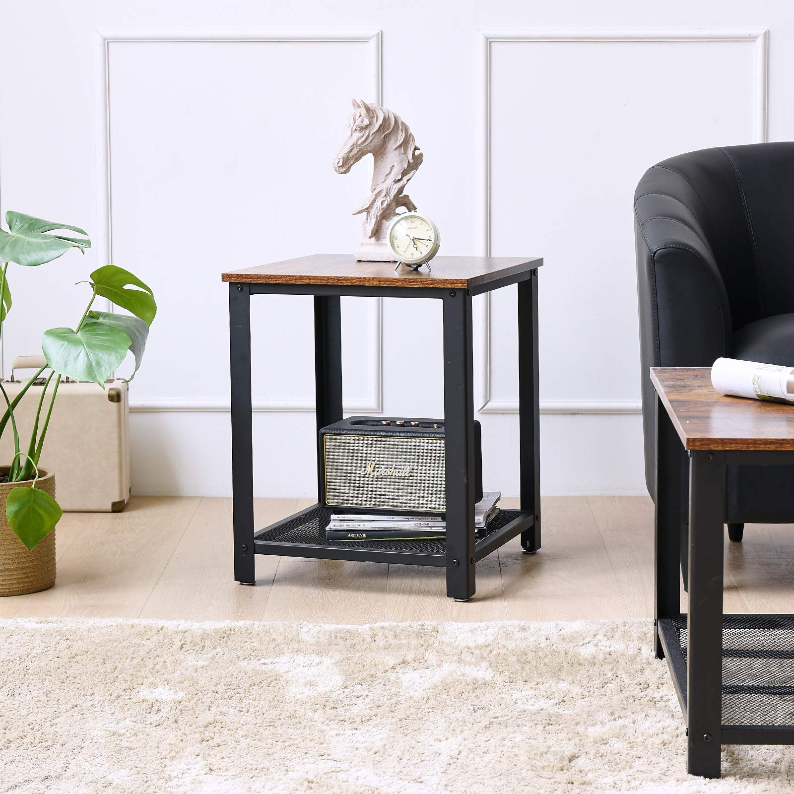 Living Room Rustic Brown End Telephone Table with 2-Tier Shelves YMYNY Sofa Side Table Nightstand for Bedroom UTMJ008H