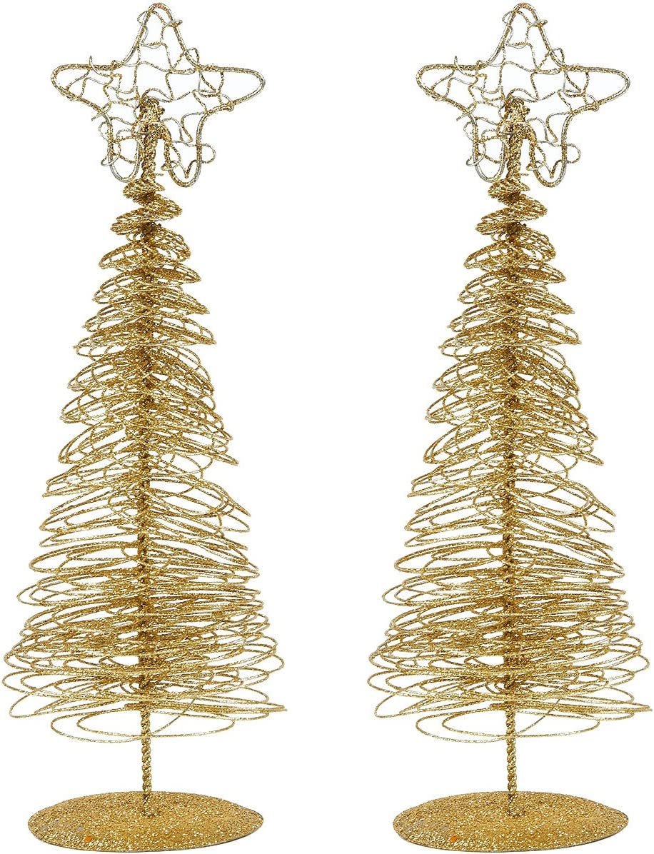 Juvale Pack of 2 Gold Christmas Trees - Mini Tree - Christmas Miniature Tabletop Decoration, 10.5 x 3 x 3 Inches