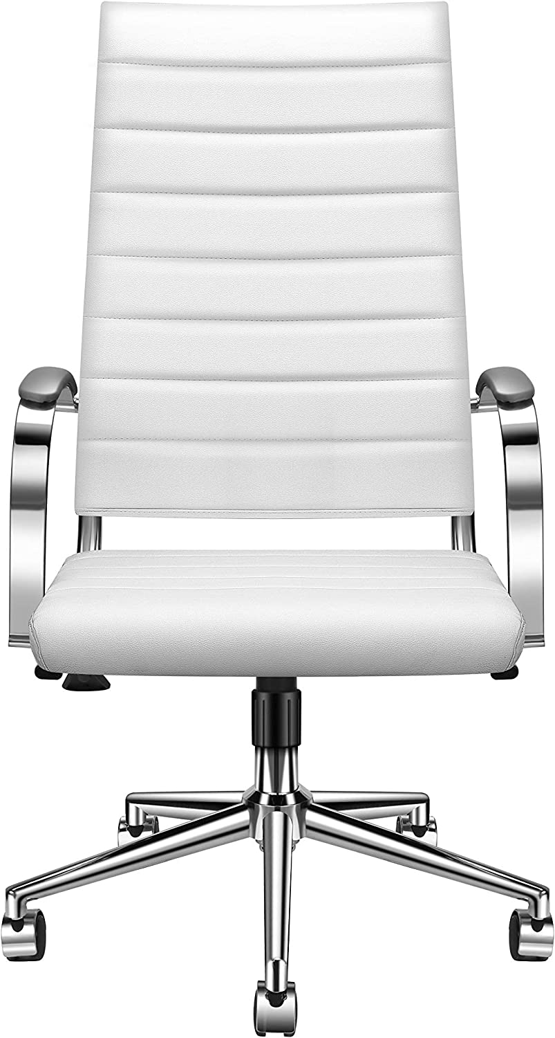 High Back Office Chair with Armrest, White Adjustable Swivel Chair in Durable Vegan Leather, Ergonomic Desk Chair for Extra Back Lumbar Support White