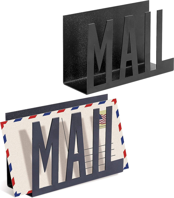 MyGift Set of 2 Black Metal Mail Sorter/Desktop Letter Holder