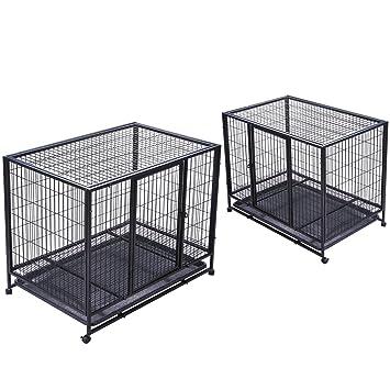 orangea para perros Heavy Duty Jaula Perro de metal doble puerta perro Cajas y jaulas con